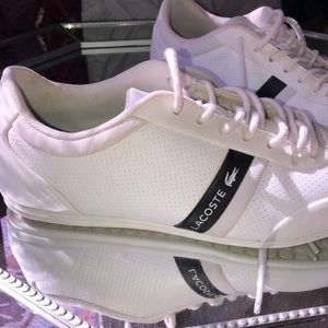 Men's White Leather Lacoste Sneakers